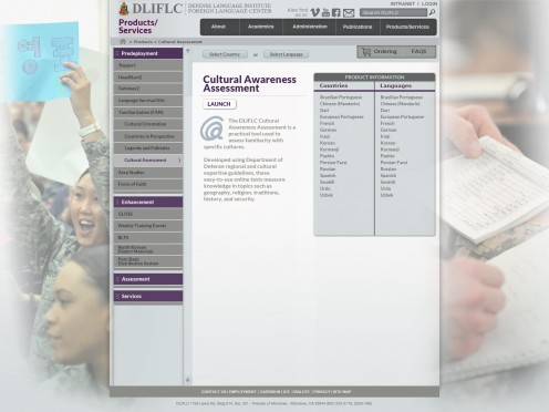 Here is several pages of a proposed web design for DLIFLC webpage.
