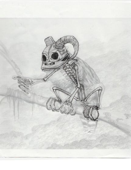 Skeleton drawing showing proper proportion in 3d.